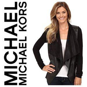 New Michael Kors Leather Drape Front Sweater Black